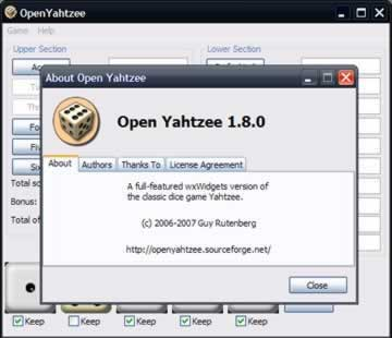 Open Yahtzee - Screen 1